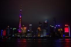 Výhľad z the Bund na skyline Shanghaiu