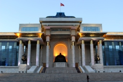 Chinggis Khaan na hlavnom námestí UB