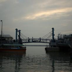 Podplávaním mostu sa dostávame na otvorené more, kam ideme pozorovať vzácne rúžové delfíny