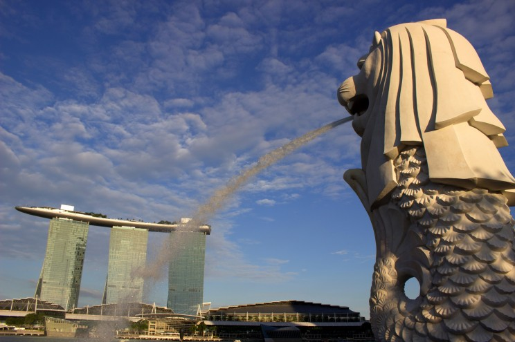 Merlion, mýtická kreatúra s hlavou leva a telom ryby je symbolom Singaporu