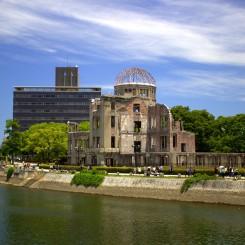 Atomic Bomb Dome - najbližšia budova k hypocentru, ktorej skelet ako jednej z mála budov odolal silnému výbuchu